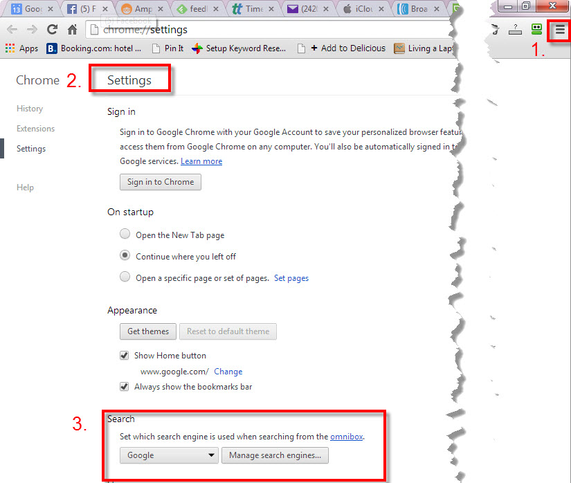 setting google search in chrome